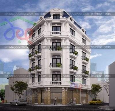 Mẫu thiết kế nhà phố 6 tầng căn góc 2 mặt tiền