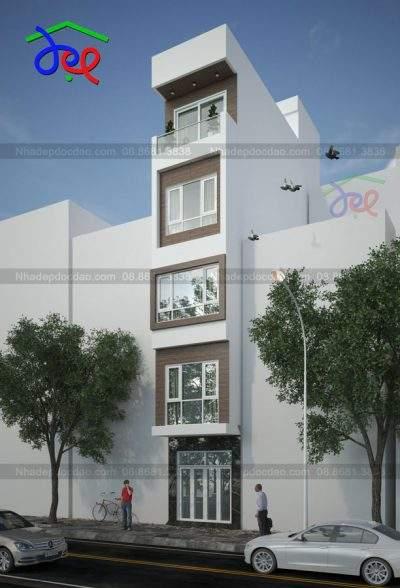 Mẫu thiết kế nhà phố 5,5 tầng diện tích 27m2