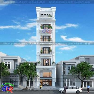Mẫu thiết kế nhà phố 6 tầng phong cách tân cổ điển