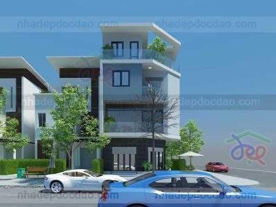 mẫu thiết kế nhà phố căn góc 4 tầng