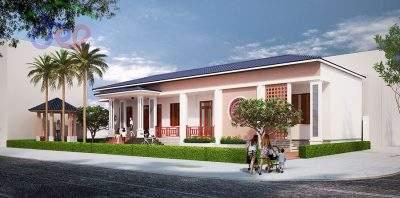 Mẫu thiết kế nhà vườn 1 tầng mái thái phong cách hiện đại