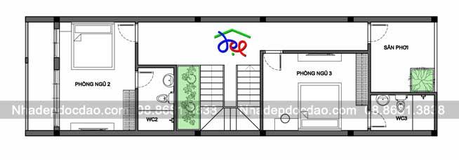 Mẫu thiết kế nhà phố 3 tầng hướng tây