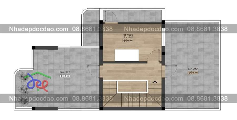 Mẫu thiết kế biệt thự phố 3 tầng 2 mặt tiền phong cách hiện đại