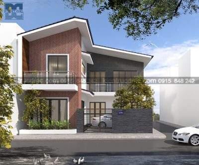 Mẫu thiết kế biệt thự nhà vườn 2 tầng mái thái phong cách hiện đại