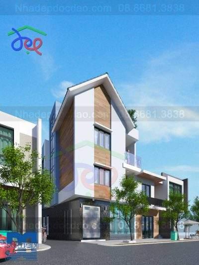 Mẫu thiết kế biệt thự phố 3 tầng 1 tum