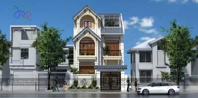 Mẫu thiết kế biệt thự phố 3 tầng phong cách tân cổ điển