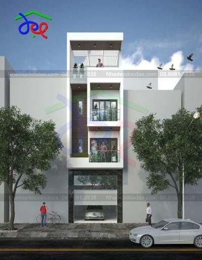 Mẫu thiết kế nhà phố lệch tầng diện tích 80m2