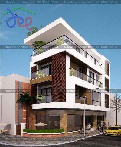 Mẫu thiết kế nhà phố căn góc nhà ở kết hợp kinh doanh