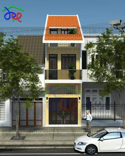 Mẫu Thiết kế nhà phố lệch tầng mặt tiền hẹp 3,3m