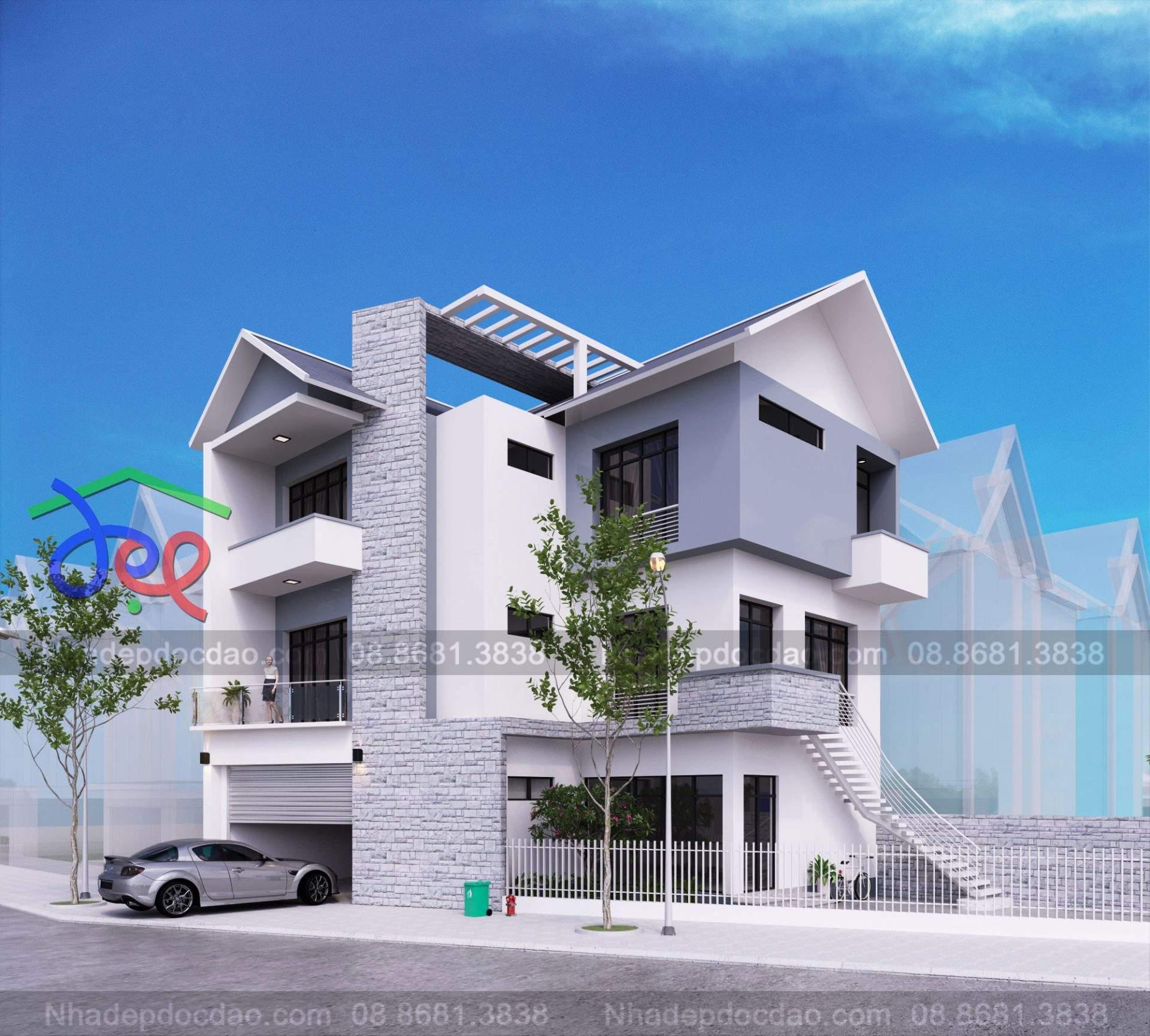 Mẫu thiết kế biệt thự mini 3 tầng hiện đại trên đất hình thang