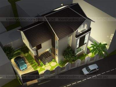 Mẫu thiết kế biệt thự mini 2 tầng phong cách hiện đại