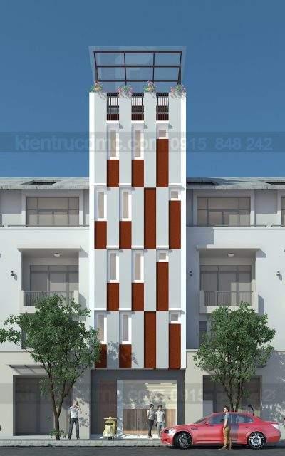 Mẫu thiết kế nhà ở kết hợp kinh doanh 6 tầng làm nhà nghỉ