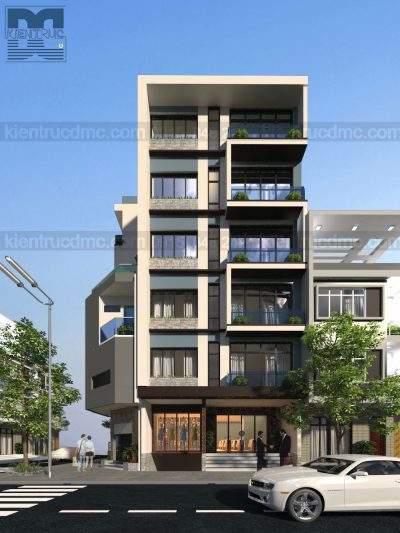 Mẫu thiết kế nhà ở kết hợp kinh doanh 7 tầng trên đất 117m2
