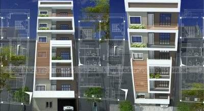 Mẫu thiết kế nhà ở kết hợp kinh doanh 8 tầng phong cách hiện đại
