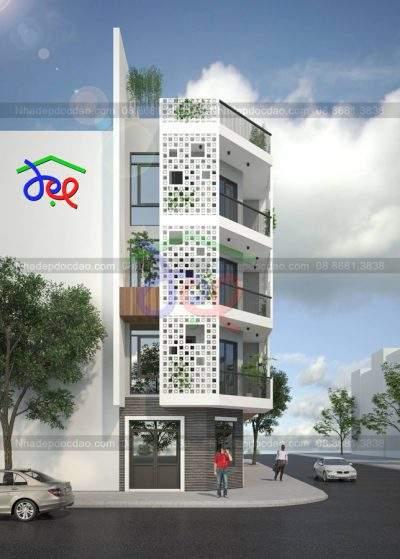 Mẫu thiết kế nhà phố 2 mặt tiền 5 tầng diện tích 80m2