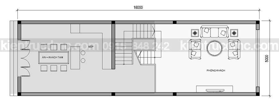 Mẫu thiết kế nhà phố lệch tầng hai mặt tiền diện tích 80m2