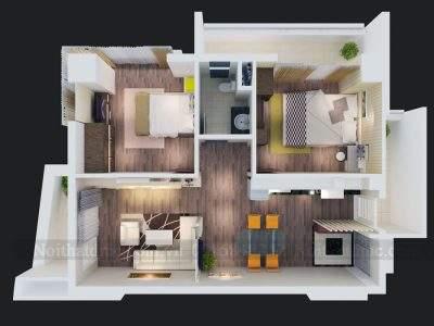 Mẫu thiết kế nội thất chung cư phong cách hiện đại diện tích 82m2