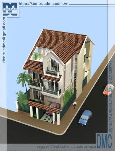 Mẫu thiết kế biệt thự mini 3 tầng diện tích 126m2