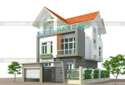 Mẫu thiết kế biệ thự phố 3 tầng phong cách hiện đại