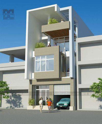 Mẫu thiết kế nhà ở kết hợp kinh doanh 4 tầng trên diện tích 85m2