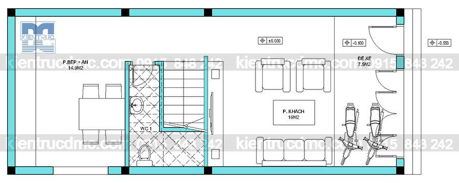 Mẫu thiết kế nhà phố 3 tầng trên diện tích 55m2