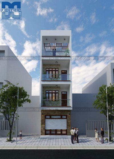 Mẫu thiết kế nhà phố 4 tầng mặt tiền 5m phong cách hiện đại