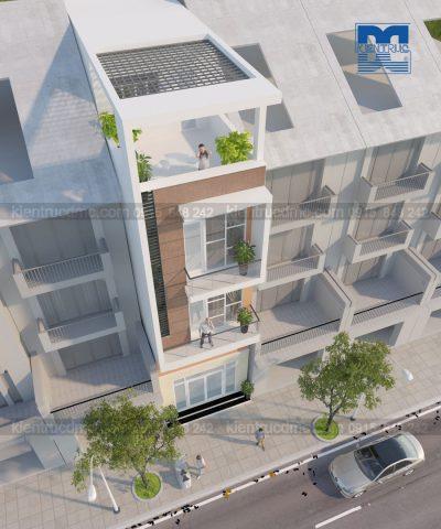 Mẫu thiết kế nhà phố 4 tầng hai mặt tiền phong cách hiện đại