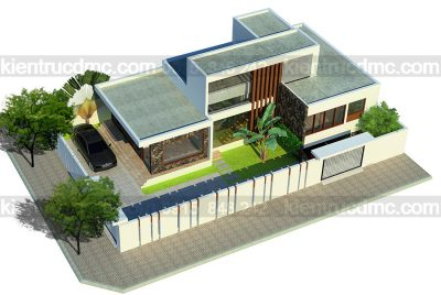 Mẫu thiết kế nhà vườn 2 tầng phong cách hiện đại trên diện tích 375m2