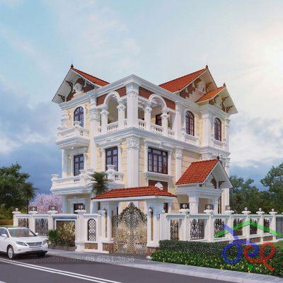 Mẫu thiết kế biệt thự 3 tầng trên diện tích 350m2 phong cách tân cổ điển