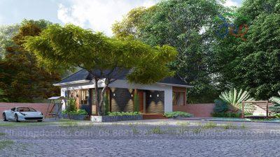 Mẫu thiết kế nhà vườn phong cách hiện đại trên diện tích 220m2
