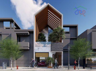 Mẫu thiết kế nhà phố 2 tầng phong cách hiện đại với vườn trên mái