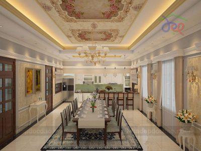 Mẫu thiết kế nội thất dinh thự 2 tầng phong cách tân cổ điển
