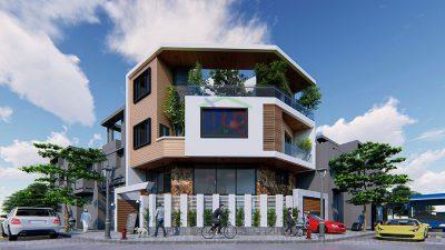 Mẫu thiết kế nhà ở kết hợp kinh doanh căn góc 3,5 tầng