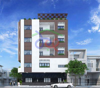 Mẫu thiết kế nhà phố căn góc 5 tầng 1 tum phong cách hiện đại