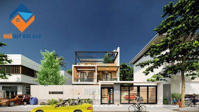 Mẫu thiết kế biệt thự phố 2,5 tầng hiện đại hoà mình với thiên nhiên
