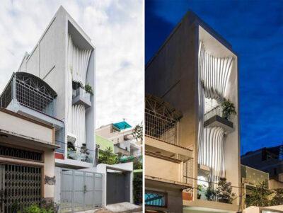 Mẫu thiết kế nhà phố 5 tầng với mặt tiền như dải lụa trên diện tích 44m2